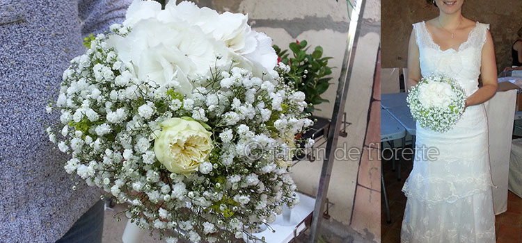 mariage en provence bouquet de mari e rond base de gypsophile et d 39 hortensia. Black Bedroom Furniture Sets. Home Design Ideas