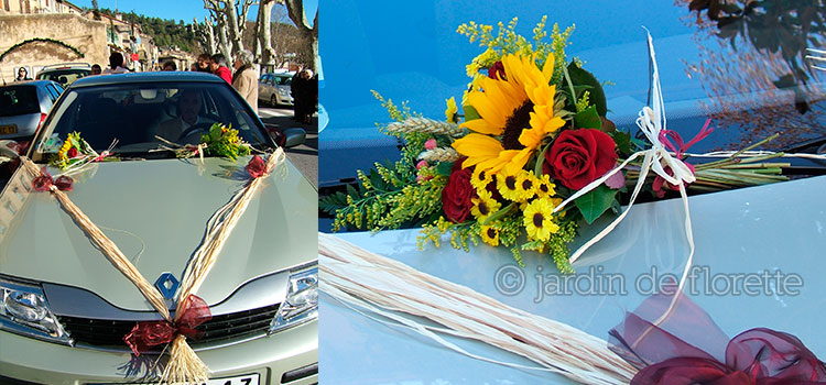 Décoration florale de voiture simple provencale